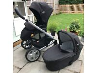 Black Joie Chrome Pram with Carrycot for sale in very good condition
