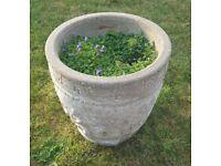 Large stone garden pot.