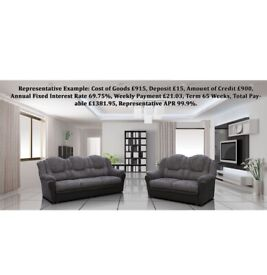 PAY WEEKLY texas corner 3c2  sofa or 3+2 leather/fabric sofa set £22