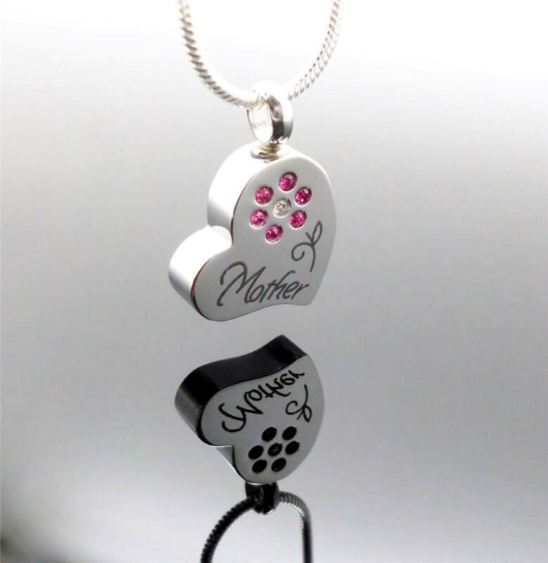 Mum Silver Rose Heart Mother Design Keepsake Cremation Memorial Urn Pendant NIB