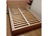 IKEA - Malm - Double Bed Frame - Oak Veneer - Low 30cm - Good Condition