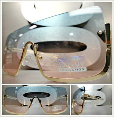 Oversized LUXURY RETRO Shield Style SUNGLASSES Gold Frame Mint Green & Pink Lens ()