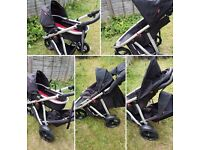 Phil & Teds vibe single/double buggy with 2nd seat and carrycot + extras
