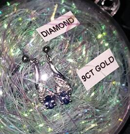 9ct White Gold Tanzanite & Diamond Pair Dangly Stud Earrings 375 Chapelle 9 carat