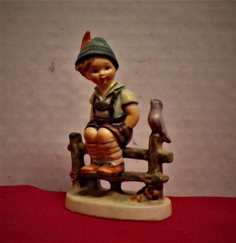 """Wayside Harmony"" Hummel Figurine #111 3/0 TMK-2 Full Bee 4"" Vintage Boy & Bird"