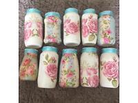 10 floral decorated wedding centrepiece jars