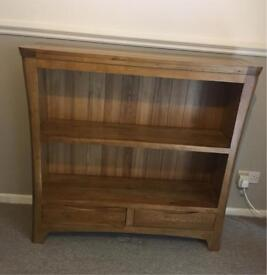 Solid oak wide bookcase (display cabinet) *will accept reasonable offers*