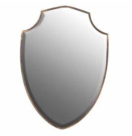 Traditional Gold Edge Shield Shaped Wall Mirror
