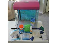 Purple Fish Tank with Light and Pump plus many extras.