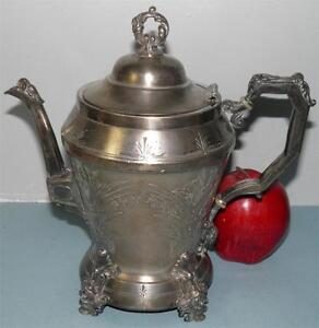 ANTIQUE-VICTORIAN-FIGURAL-SILVER-TRIPLE-PLATE-WEBSTER-TEA-POT-HAND-ENGRAVED