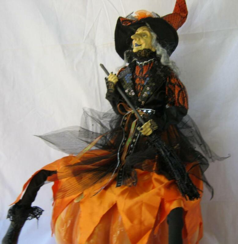 Large Halloween Witch Doll with Broom and Hat and vibrant black and orange color