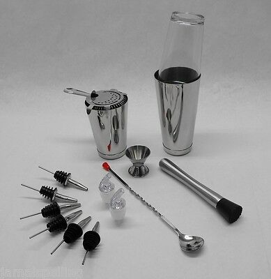 15 Pc. Boston Shaker Set Strainer Muddler Spoon Jigger Weighted Tin Bar Kit