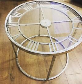 Clock face decorative coffee table