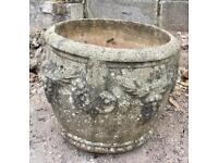 Decorative concrete garden pot