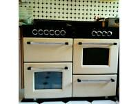 Belling Classic 110E Cream Electric Ceramic Range Cooker and Hood