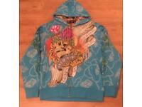 """Brand new authentic Christian Audigier men's luxury """"Blue Skull Chain"""" designer hoodie. Large"""