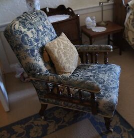 Edwardian Upholstered Arm chair Blue/Gold Damask