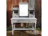 Late Victorian Shabby Chic walnut painted dressing table c1880
