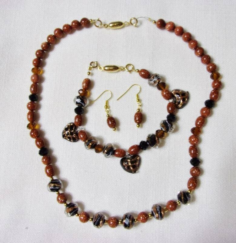 Gold Tone, Gold Stone & Murano Bead Necklace, Bracelet & Fish Hook Earrings