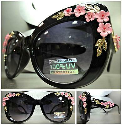 Floral Sunglasses (VINTAGE RETRO CAT EYE Style SUN GLASSES Black Frame Unique Floral Flower)