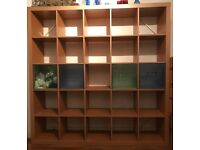 Ikea Expedit Type Shelf Unit 185 cm Height 185 cm Width & Depth 39 cm With 4 Coloured Insert Boxes