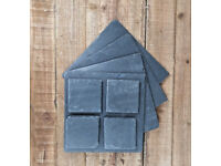 Natural Handcut Slate Square Placemat Coaster Set