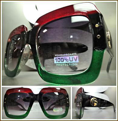 New OVERSIZED VINTAGE RETRO Style SUN GLASSES Large Square Black Green Red Frame
