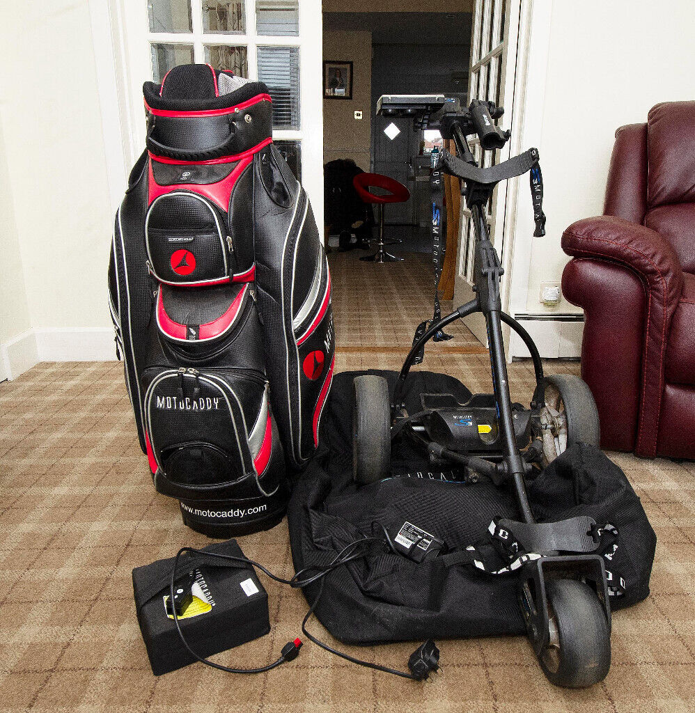 Motocaddy S3 golf trolley with travel case and accessories plus golf bag  battery new battery | in Airdrie, North Lanarkshire | Gumtree