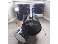 DRUMS Adult Sized, Bass Drum, Snare Drum & Three Toms BLACK 5 Piece SHELL PACK (no stands)