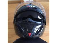Gloss black Ego flip full face motorcycle helmet.