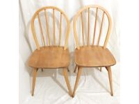 Ercol Windsor hoop-back chairs pair 2 x model 400 vintage retro 1970s kitchen dining chairs