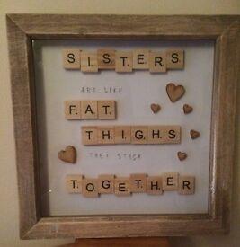 NEW NOVELTY SCRABBLE PHOTO FRAME SISTERS GIFT