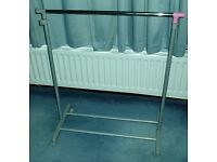 Adjustable Clothes Rail - Coat Garment Hanging Rail Rack Stand On Wheels Mobile