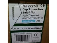 M12X260 Cup Square Hex Bolt & Nut X 10 brand new