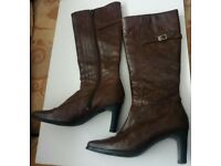 ladies size 4 brown leather hush puppies boots
