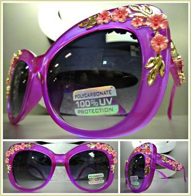 Floral Sunglasses (OVERSIZE VINTAGE RETRO CAT EYE Style SUNGLASSES Thick Purple Frame Floral)