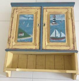 Preloved bespoke nautical/seaside/ beach theme wall cabinet