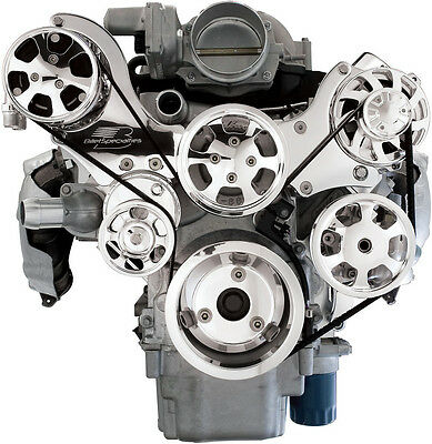 BILLET SPECIALTIES TRU TRAC CHEVY LS7 FRONT ENGINE KIT,A/C COMPRESSOR,WATER PUMP