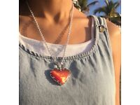 Red Love Heart Sunstone Cat's Eye .925 Sterling Silver Necklace by Berto Palencia