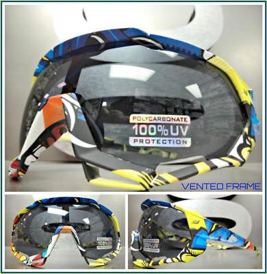 Oversized 90's RETRO SPORTY Wrap Around Style SUN GLASSES GOGGLES Colorful (Wrap Around Goggles)