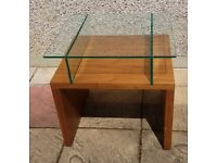 Solid Wood Table - Painted - Thick Glass Top