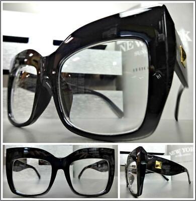 OVERSIZED RETRO CAT EYE Style Clear Lens EYE GLASSES Thick Black Fashion (Cat Eye Oversized Glasses)