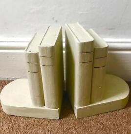 Pair of handmade painted wooden bookends