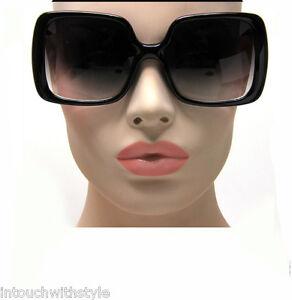 New-Womens-Vintage-Style-Black-XL-Oversized-Jackie-O-Sunglasses-Gradient-Lens