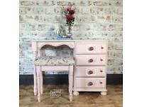 Pretty pine pink flamingo dressing Table Hand painted