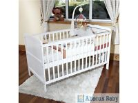 White Mothercare Isabella Cot Bed + Mattress in Ex Cond