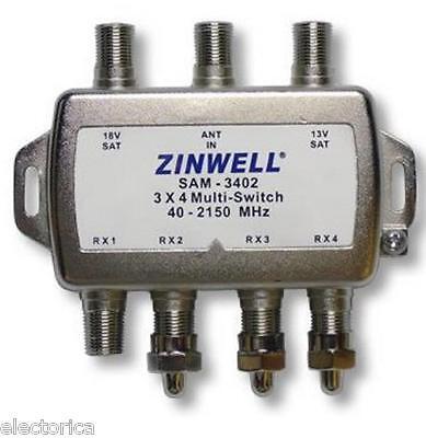 Used, 3X4 MULTI-SWITCH QUAD OUTPUT LNB ZINWELL SW34 2X4 SW24 SW34 BELL SATELLITE LNBF for sale  Canada