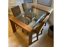 Oak Tempered Glass Dining table and 4 Chairs