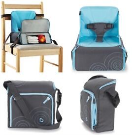 munchkins baby travel booster seat brand new in pack gray/blue