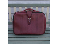 Vintage Red Leather Suitcase